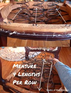 Measuring string for re-tieing springs on french chair