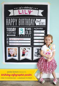 This is so cute! Free printable from Petite Lemon for birthdays. Print a big one like this for $8 or less at your office supply store.