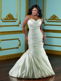 Elegant Lustrous Satin mermaid wedding dress with flattering pleats and stunning crystal embellishments ML3115 I repinned this bc it's so wonderful to see a curvy model !
