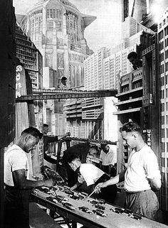 Art director Erich Kettelhut & crew create the futuristic city set of Metropolis (1927, dir. Fritz Lang)