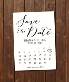 ON SALE Save the Date Calendar Template/Download/Engagement ...