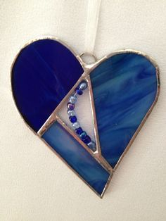 Stained Glass Ornament - Heart with Glass Beads via Etsy