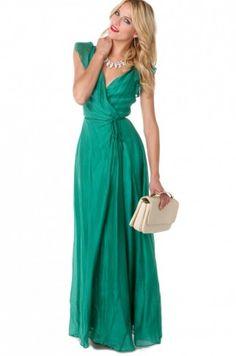 Akira Tencel Wrap Maxi dress in Green