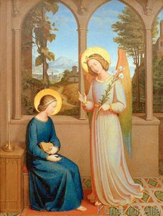 Giclee Print: The Annunciation, 1828 by Johann von Schraudolph : Catholic Art, Religious Art, Medieval Art, Renaissance Art, Madonna, Angelus, Mary And Jesus, Holy Mary, Angels Among Us
