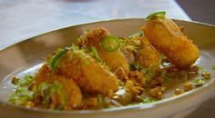 Lamb and goat's cheese croquettes, corn puree, corn salsa | MasterChef Australia
