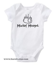 Mischief Managed Cute Baby Humor Funny Harry Potter Inspired Onesie/Creeper/Bodysuit Size 3, 6, 12, 18, 24 Months Color White. $14.00, via Etsy.