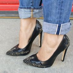Shoedazzle Shoes - New Black Studded Pointed Toe Pumps 2