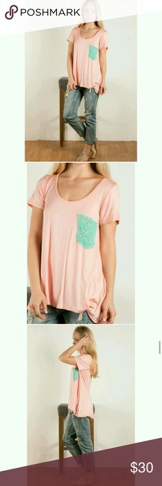 "Solid jersey tee with crochet pocket Peach mint New I have 2 small 2 mediums and 2 large 95% rayon 5% spandex 24"" long 15"" bust Tops Tees - Short Sleeve"