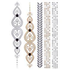 Silver And Gold Metallic Jewellery Tattoo - Design 3 Tattoo Flash, Silver Tattoo, Jewelry Tattoo, Temporary Tattoo, Metal Jewelry, Tattoo Designs, Gold, Tattoo Art, Metallic