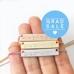 Coordinate Jewelry  Rose Gold Bar Necklace Custom Hand