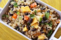 Curried Quinoa Salad with Black Beans and Mango... and this to the Women's Health Grapefruit & Avocado salad, but use this dressing, and it's DELICIOUS!