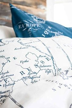 europe map print duvet quilt cover 2pc set twin 100 cotton blue and white