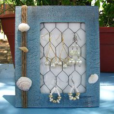 SALE DESTASH Sea Shell Blue Jewelry Display Beach Summer Earring Holder Bedroom Decor Table Top Hanging Storage Organize via Etsy