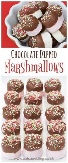 Quick and easy chocolate dipped marshmallows recipe - fun homemade gift idea for kids to make for christmas from Eats Amazing UK #Christmas #christmasgifts #homemade #Christmasfood #chocolate #marshmallow #easyrecipe #cookingwithkids #funfood #festive #ediblegifts #sprinkles