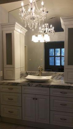 Photo Album For Website Marble bathroom re do Custom Kraftmaid cabinets Carrara blanco marble marble floors