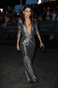 Eva Longoria wows in silver gown with plunging neckline at Cannes Eva Longoria, Black Platform, Platform Pumps, Cannes Film Festival 2015, Cannes 2015, Silver Gown, Palais Des Festivals, Vogue, Latin Women