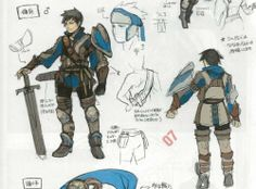 Concept artwork of the male variant of the Mercenary class from Fire Emblem Awakening.
