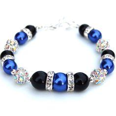 Azul cobalto y negro brazalete de perlas Bling por AMIdesigns