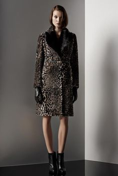 Reiss Minx Women's Leopard Print Shearling Coat