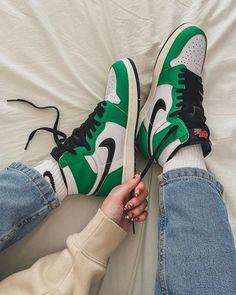 JORDAN 1 GREEN by jonkustom Cute Nike Shoes, Nike Air Shoes, Jordan Shoes Girls, Girls Shoes, Nike Air Jordan, Jordan 1, Jordan Retro, Trendy Shoes, Casual Shoes