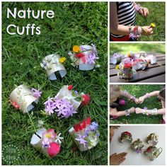 Nature cuffs - pretty DIY bracelets that kids can decorate with freshly flowers. Go on a neighbourhood or nature walk to find some!
