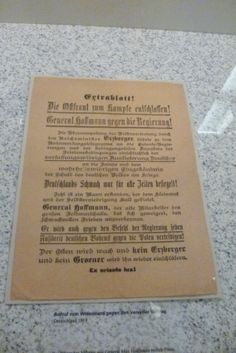 Call for resistance to the Versailles Treaty. Germany 1919. Among leading officers like General Max Hoffman, plans were ripening for an eastern state, independent from the Reich, which was to be the launching point for the battle against Poland and the Versailles clauses (Deutsche Historisches Museum)