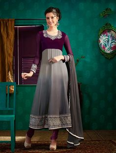 Traditional And Beautiful Grey Anarkali Dress With Resham Embroidery  #anarkalisuit