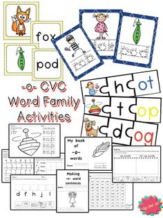 Short 'o' CVC Word Families: 10 great activities to help your students learn the medial short 'o' sound. Over 110 pages of practice. Mini-books, roll & color, maze, puzzles, Memory game, tracing cards, and more!!! $ #lifeovercs #cvc #wordfamilies #kindergarten