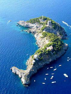 Isla con forma de delfín, Italia  Li Galli es la isla más grande de las tres que componen el Archipiélago Sirenusa, Italia. Además de ser un lugar increíble, tiene la curiosa forma de un delfín. El lugar fue declarado Patrimonio de la Humanidad por la UNESCO en 1997.
