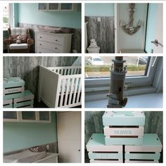 decoratie babykamer mintgroen strandthema / babyroom mint, Deco ideeën