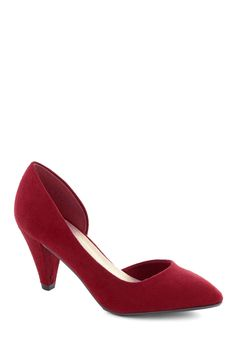 Treasure Stroll Heel in Ruby - Red, Solid, Work, Vintage Inspired, 20s, 30s, Mid, Good, Wedding, Party, Cocktail, Film Noir, 40s, Minimal, Faux Leather, Variation, Basic, Holiday Party, 50s