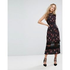 Foxiedox Pleated Floral Midi Dress with Lace Insert ($290) ❤ liked on Polyvore featuring dresses, multi, floral printed dress, cutout dresses, floral print dress, cut-out dresses and floral dresses