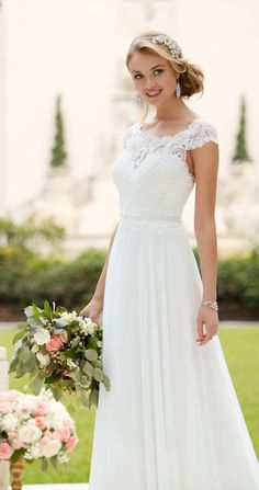 Wedding Dress out of Stella York – 6365 Lace wedding dress idea – a-line wedding dress with lace, illusion neckline and chiffon skirt. Available in sizes 2 – Style 6365 by Stella York. Lace Back Wedding Dress, Best Wedding Dresses, Designer Wedding Dresses, Bridal Dresses, Lace Wedding, Summer Beach Wedding Dresses, Wedding Reception, Illusion Neckline Wedding Dress, Wedding Hijab
