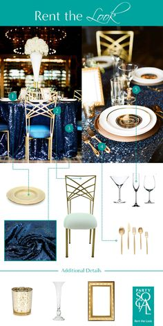 Be bold! Make a statement at your next event with rich gold tones and vivid navy blue sequin linens. Inspired by Scheme Events : Barrymore Wedding.  1) Gold Lined Charger Plate 2) Chameleon Chair  3) Navy Sequin Linens 4) Gold Solo Cutipol Cutlery 5) Glassware