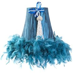 Brandi Renee Designs - All Lit Up Princess Sapphire silver butterfly feather lampshade.