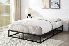 Groupon Goods Metal Low Platform Bed Frame: King/with Mattress King Metal Bed Frame, Black Metal Bed Frame, White Metal Bed, King Size Bed Frame, Metal Beds, Low Platform Bed Frame, Low Bed Frame, King Size Platform Bed, Bed Frames