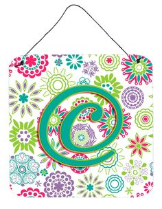 Letter C Flowers Pink Teal Green Initial Wall or Door Hanging Prints CJ2011-CDS66