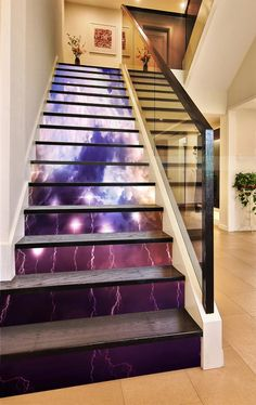 Stair Risers, Stairs, 3d Clouds, Photo Mural, Lightning, Vinyl Decals, Sky, Wallpaper, Thunder