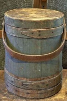 Large Antique Firkin in Original Green Paint