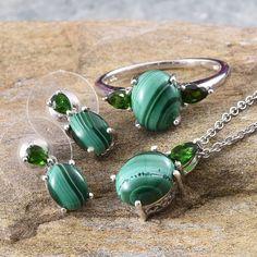 Handmade Jewelry Green Malachite Sterling Silver Overlay Earring 1.5 Fashion Level