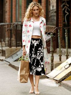 Carrie Bradshaw - Break the rules this spring. Mix and match prints. It is all about color, scale and texture. Be dramatic if it suits you.