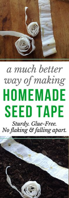 MUCH BETTER method for making homemade seed tape! No flaky flour paste falling apart and dropping seeds, and no chemicals from using glue.