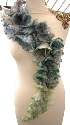 Neckpiece | Helen Whitworth.  Silk paper that she then dyed with batik combined with free standing embroidery elements