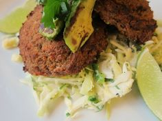Spicy, Smoky Bean Cakes with Lime Slaw and Charred Avocado - Vegan