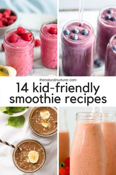 These kid-friendly smoothie recipes are perfect for toddlers or bigger kids! Packed with veggies and fruit, these smoothies are easy, delicious and perfect for all ages! They are quick to blend up and make for a perfect healthy breakfast or quick snack! Toddler Smoothie Recipes, Healthy Smoothies For Kids, Toddler Smoothies, Healthy Breakfast For Kids, Breakfast Smoothie Recipes, Fruit Smoothie Recipes, Yummy Smoothies, Healthy Kids, Kid Breakfast