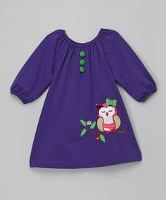 Look what I found on #zulily! Purple Owl Peasant Dress - Toddler & Girls by Lele Vintage #zulilyfinds