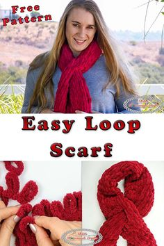 how to knit/ crochet the Easy Loop Scarf with your hands with this free knitting/ crochet pattern plus video tutorial.Learn how to knit/ crochet the Easy Loop Scarf with your hands with this free knitting/ crochet pattern plus video tutorial. Crochet Scarf Easy, Easy Crochet Patterns, Crochet Hats, Knit Crochet, Tutorial Crochet, Blanket Crochet, Scarf Patterns, Irish Crochet, Simple Crochet