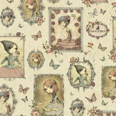 Simply Gorjuss by Santoro for Quilting Treasures BTY Hearts on Black