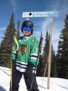 This fan is cheering on the #Blackhawks from the top of a mountain in Colorado!