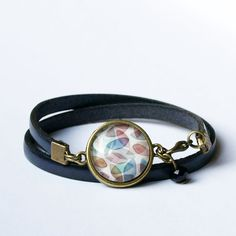 Bracelet fin en cuir gris bleu